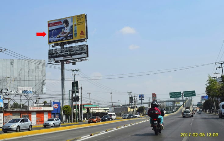 Espectacular MEX-257 en Col. Periodistas, Coacalco de One Marketing