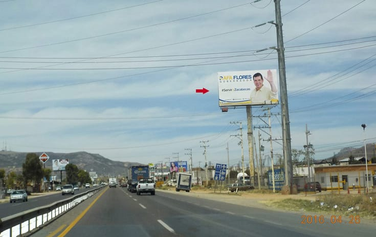Espectacular ZAC005O1 en Carr. Panamericana #121 Km. 111+750, Sin Nombre, Guadalupe de One Marketing