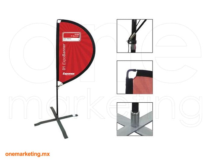 Bandera P de Fibra de Carbón código OM-BD-38 de One Marketing Stands y Displays