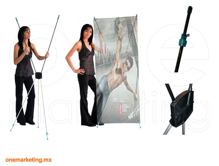 Display tipo Banner X Azul OM-BX-12 de One Marketing Expo Stands y Displays