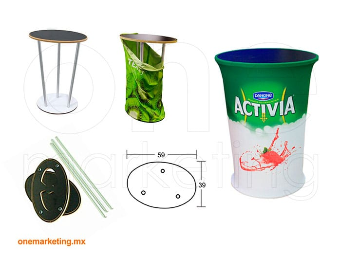 Display tipo Counter Oval Tela OM-DS-75 de One Marketing Expo Stands y Displays