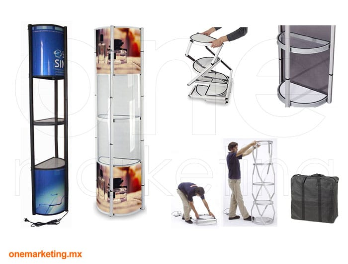 Display tipo Torre Twister Media Luna OM-TT-62 de One Marketing Expo Stands y Displays