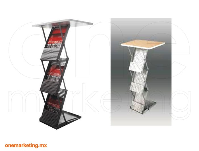 Folletero Plegable Z de Acero código OM-FL-69 de One Marketing Stands y Displays