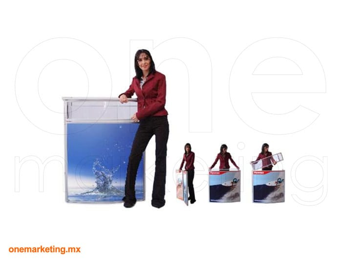 Display tipo Mesa Doble Panel OM-DS-56 de One Marketing Expo Stands y Displays