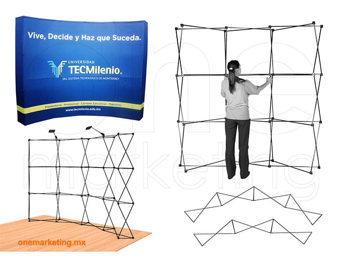 Display tipo Display Araña Curva Nacional OM-DP-81 de One Marketing Expo Stands y Displays