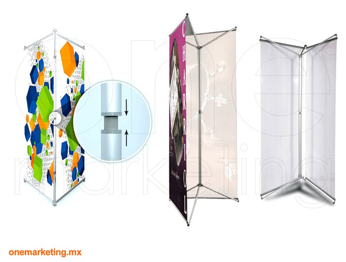 Tri Banner X Ajustable de Aluminio código OM-BX-21 de One Marketing Stands y Displays