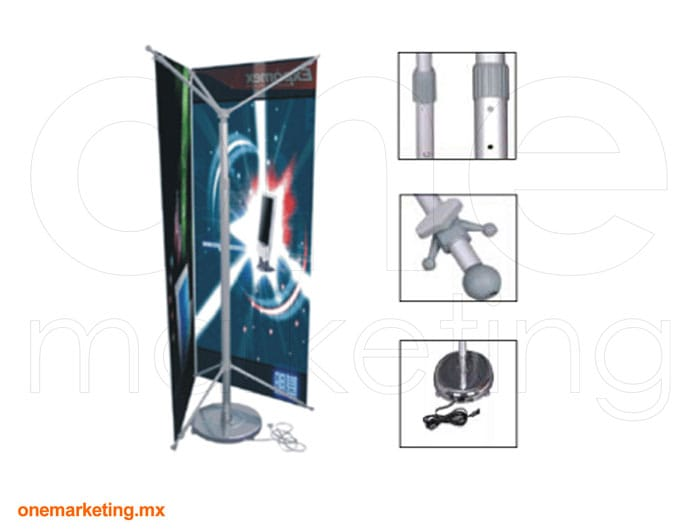 Tri Banner X Ajustable Rotativo de Aluminio código OM-BX-22 de One Marketing Stands y Displays