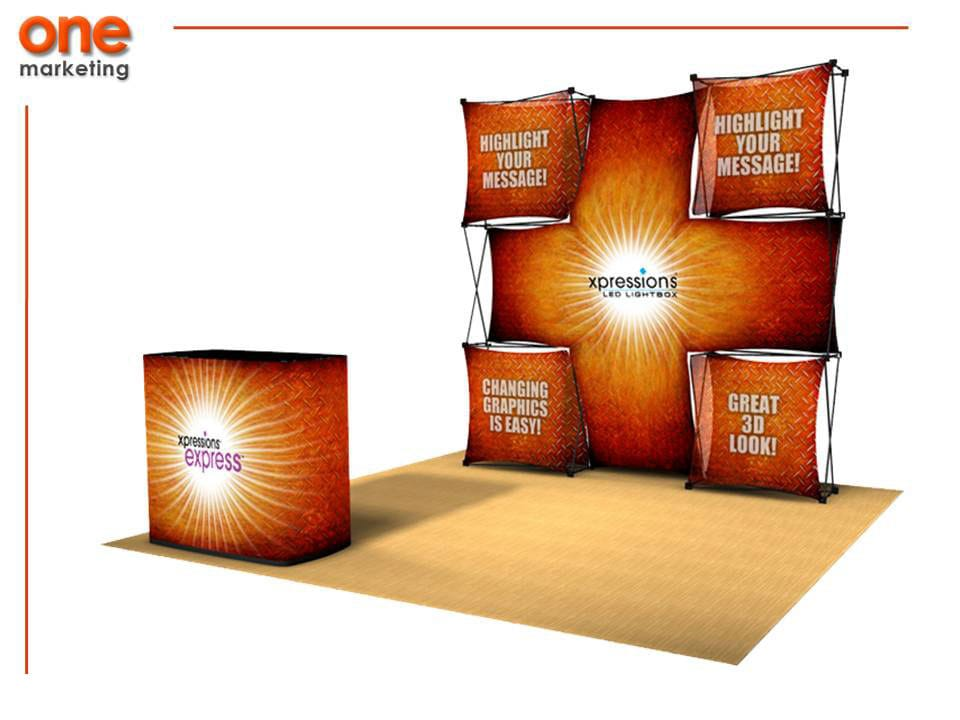 Paquete Expo 1 de Pared: Aluminio<br>Counter: Aluminio con MDF de Promociones One Marketing