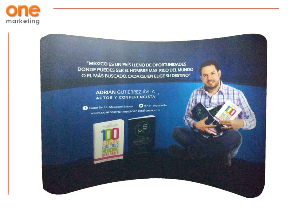 Pared Curva Expo Tela 1V de Aluminio de Promociones One Marketing