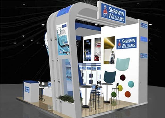 Ejemplo de Stand Custom para Sherwin Williams de One Marketing Expo Stands y Displays