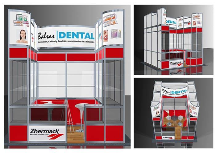 Ejemplo de Stand Octanorm 3x3 Cajón para Balsas Dental de One Marketing Expo Stands y Displays