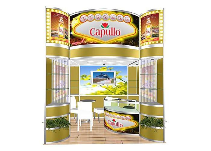 Ejemplo de Stand Octanorm 3x3 Cajón para Capullo de One Marketing Expo Stands y Displays