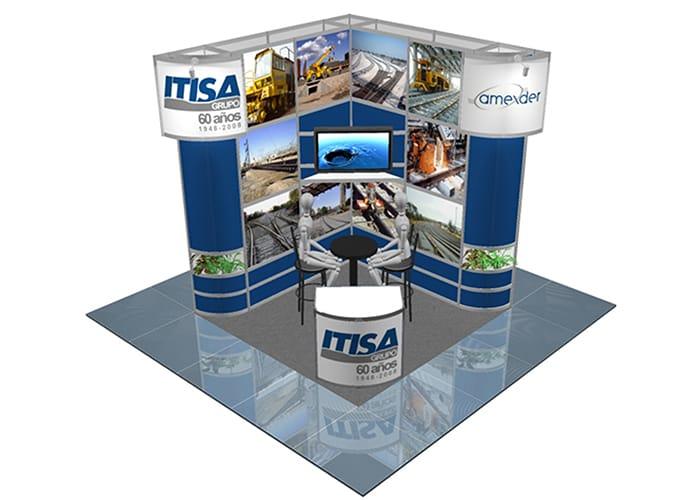 Ejemplo de Stand Octanorm 3x3 esquina para Itisa de One Marketing Expo Stands y Displays