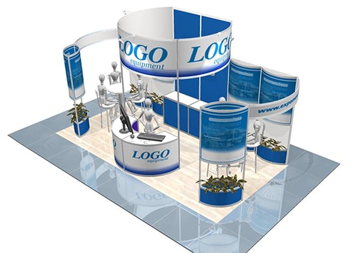 Ejemplo de Stand Octanorm en cabecera de 3x6 de One Marketing Expo Stands y Displays