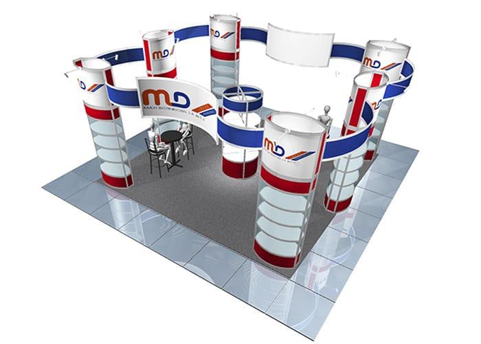 Ejemplo de Stand Octanorm 6x6 en Isla para MD de One Marketing Expo Stands y Displays