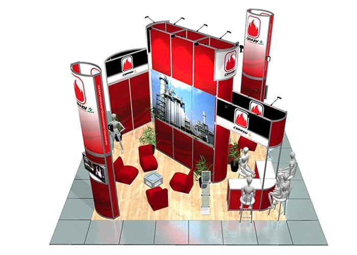 Ejemplo de Stand Octanorm 6x6 en Isla de One Marketing Expo Stands y Displays