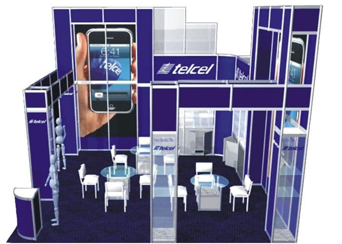 Ejemplo de Stand Octanorm para Telcel de 6x6 en Isla de One Marketing Expo Stands y Displays