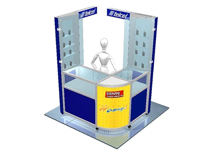 Ejemplo de Stand para Plaza en pasillo para Telcel de One Marketing Expo Stands y Displays