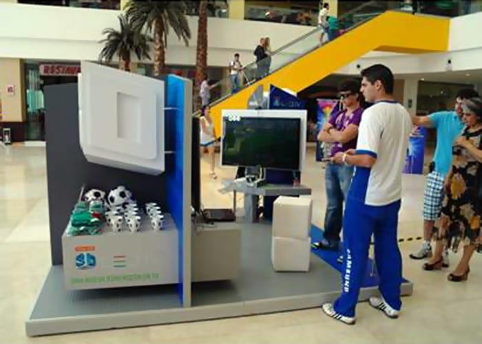 Un Stand para plazas de One Marketing es un stand tipo kiosco o en isla para exhibición en centros comerciales o supermercados.