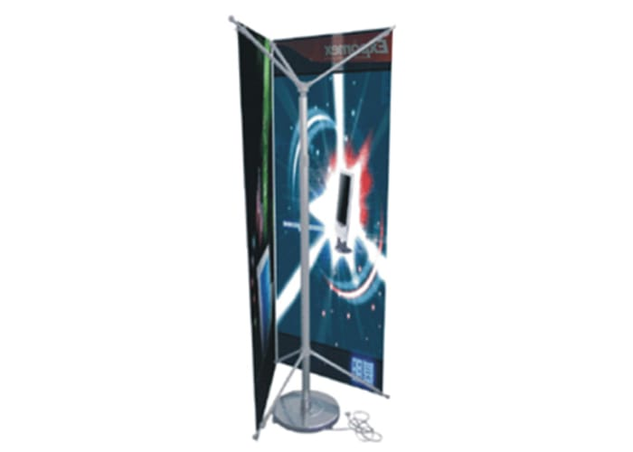 Tri Banner X Ajustable Rotativo código OM-BX de One Marketing Expo Stands y Displays